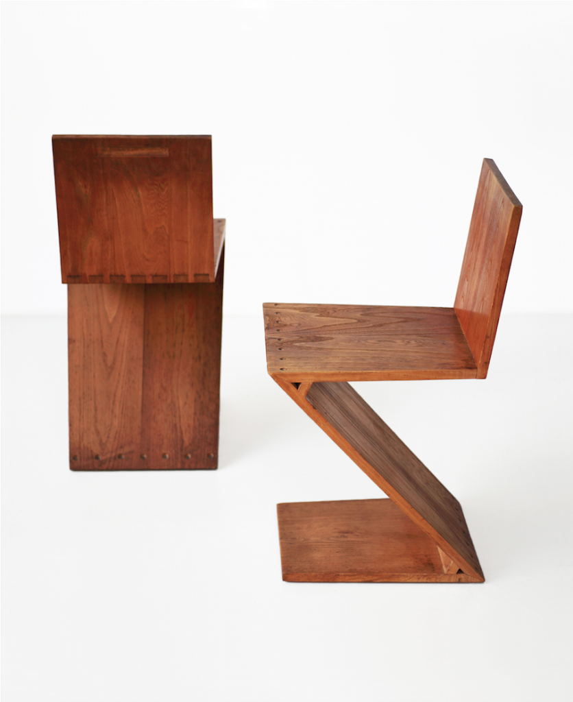 Design Miami/ Basel Pair of ZigZag Chairs by Gerrit Th. Rietveld 1934 at Galerie VIVID of Galerie VIVID