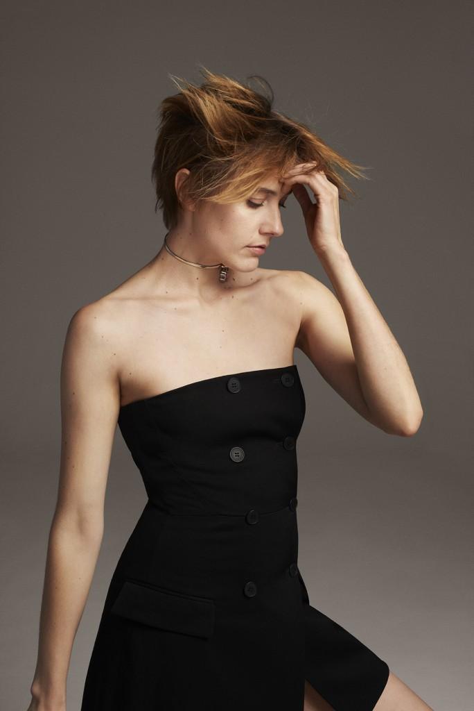 STELLA McCARTNEY Black strapless dress DIOR Choker necklace