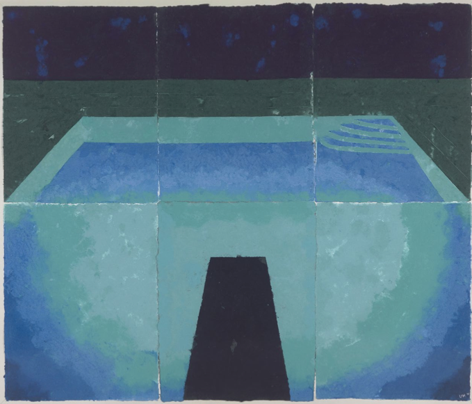 Schwimmbad Mitternacht (Paper Pool 11), 1978, colored and pressed paper pulpe 182.80 x 215.90 cm © David Hockney / Tyler Graphics Ltd. Photo : Richard Schmidt