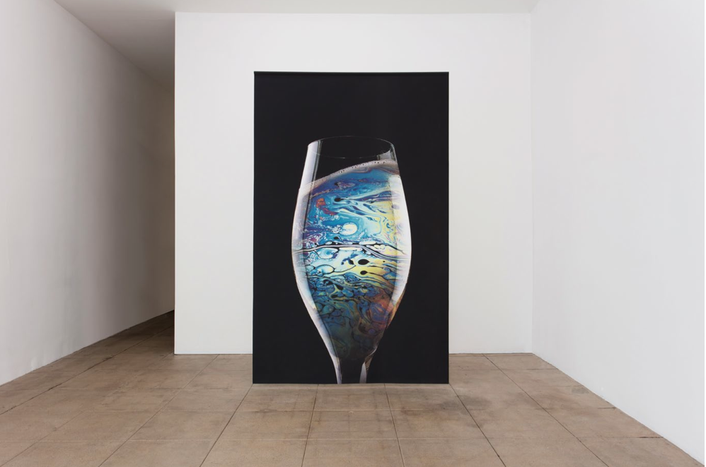 """Glass of Petrol"" 2015, Printed textile 118 x 73 1/2 in / 300 x 187 cm Courtesy of the artist and Overduin & Co., Los Angeles Photo credit: Brian Forrest"