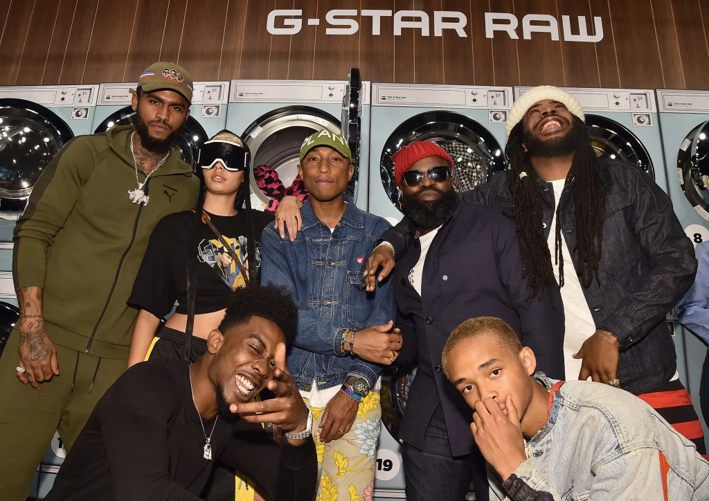 NEW YORK, NY - SEPTEMBER 13: Dave East, India Graham, Desiigner, Pharrell Williams, Tariq Luqmaan Trotter, Jaden Smith, and D.R.A.M. attend the Pharrell Williams And G-Star RAW Present The New G-Star Elwood X25 Prints - New York Fashion Week - Spring/Summer 2018 on September 13, 2017 in New York City. (Photo by Theo Wargo/Getty Images for G-Star RAW )