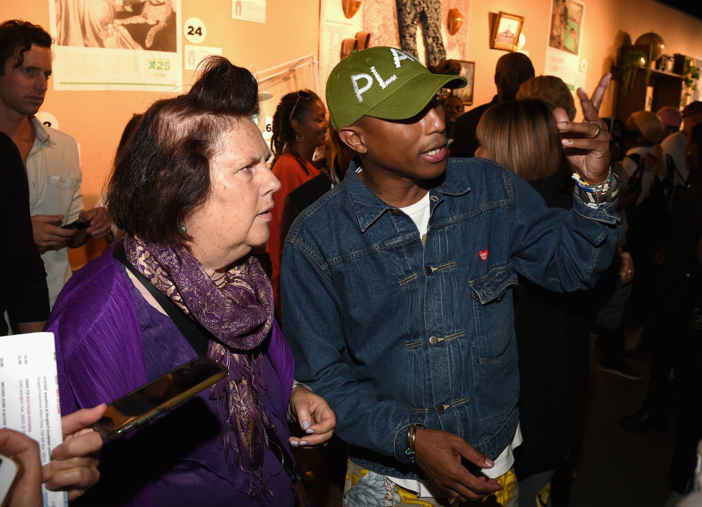 NEW YORK, NY - SEPTEMBER 13: Suzy Menkez and Pharrell Williams attend the Pharrell Williams And G-Star RAW Present The New G-Star Elwood X25 Prints - New York Fashion Week - Spring/Summer 2018 on September 13, 2017 in New York City. (Photo by Bryan Bedder/Getty Images for G-Star RAW)