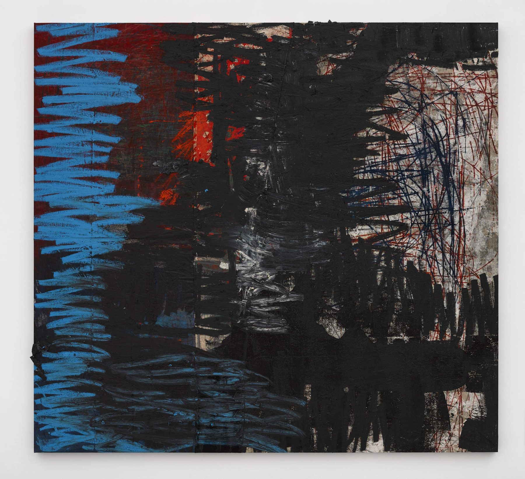 Oscar Murillo, manifestation (2019-2020), oil, oil stick, cotton thread, and graphite on canvas, velvet, and linen, 250 x 270 cm. Courtesy of the artist and David Zwirner